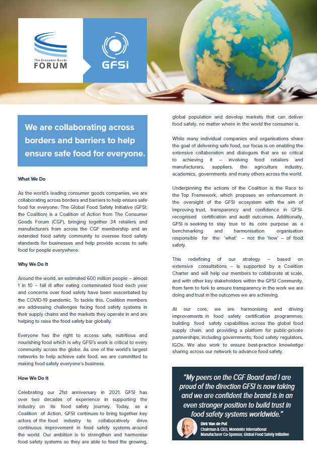 GFSI Coalition of Action One-Pager